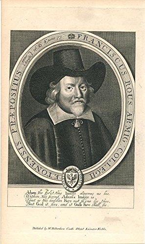 Francis Rous big hat & collar c.1798 fine antique engraved historical portrait