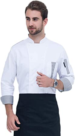WYCDA Casaca Cocina Uniforme Bar Restaurante Manga Larga Blanco Algodón Camisa Chef Cocinero Bar Restaurante Mangas Largas,Blanco,L: Amazon.es: Hogar