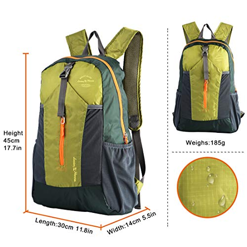 Ultra Lightweight Packable Water Resistant Travel Hiking Backpack Handy  Foldable Daypack 20L f098b8e055f50
