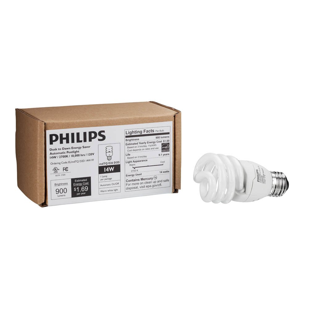 Philips Energy Saver Dusk-to-Dawn Compact Fluorescent Twister A19 Light Bulb: 900-Lumen, 2700-Kelvin, 14-Watt (60-Watt Equivalent), Medium Base CFL, Soft White by Philips (Image #5)