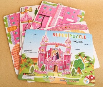3D Puzzle Jigsaw Pink Castle Palace Cubic Dollhouse Model Building Kit Paper Card Blocks DIY Toys Birthday Christmas Gift for Kids Adults with Figures Princess Prince Cut Assemble