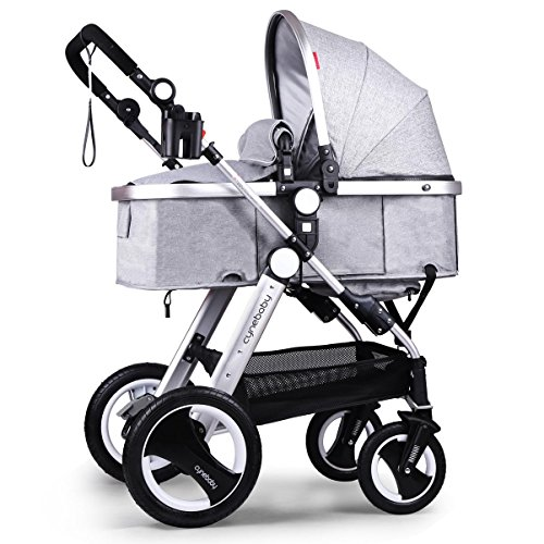 Cynebaby Newborn Baby Stroller for Infant and Toddler City Select Folding Convertible Baby Carriage Luxury High View Anti-shock Infant Pram Stroller with Cup Holder and Rubber Wheels (Linen Grey) by cynebaby