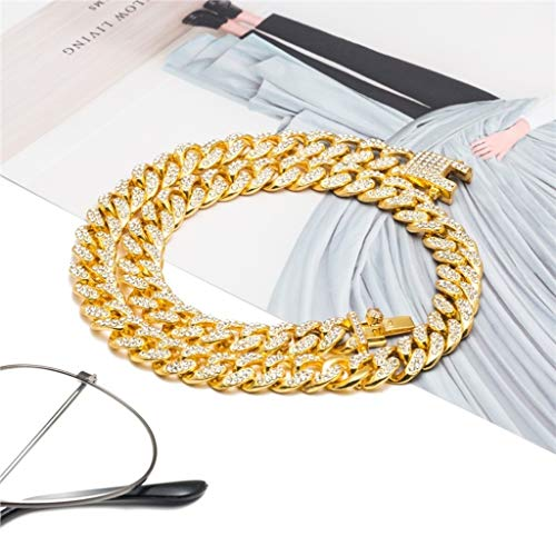 Naomi Mens Hip Hop Iced Out Bling Rhinestone Gold/Silver Color Fashion Miami Cuban Link Chain Necklace Bracelet Jewelry Gifts Gold 30inches Necklace (Mens Fashion Miami)