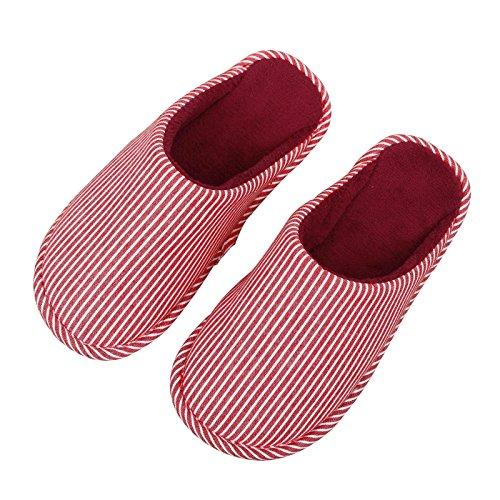 Pantofole Da Donna Pantofole Di Cotone, Scarpe Da Casa Indoor Leggero Scarpe Invernali Piatte Formato Rosso 5,5-7,5 Strisce Verticali