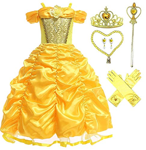 Princess Belle Deluxe Yellow Party Dress Costume (2-3, Style 4)