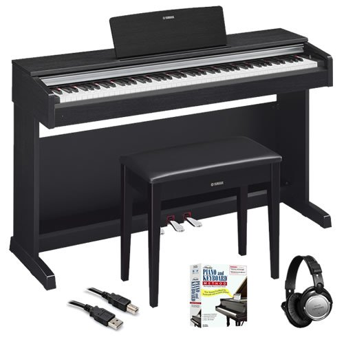 Yamaha YDP143B Traditional Console Digital Piano with Bench, Easy Piano Music Book (2nd Edition) , Keyboard Book 1 (Fasttrack Series) and Open-Ear Headphones