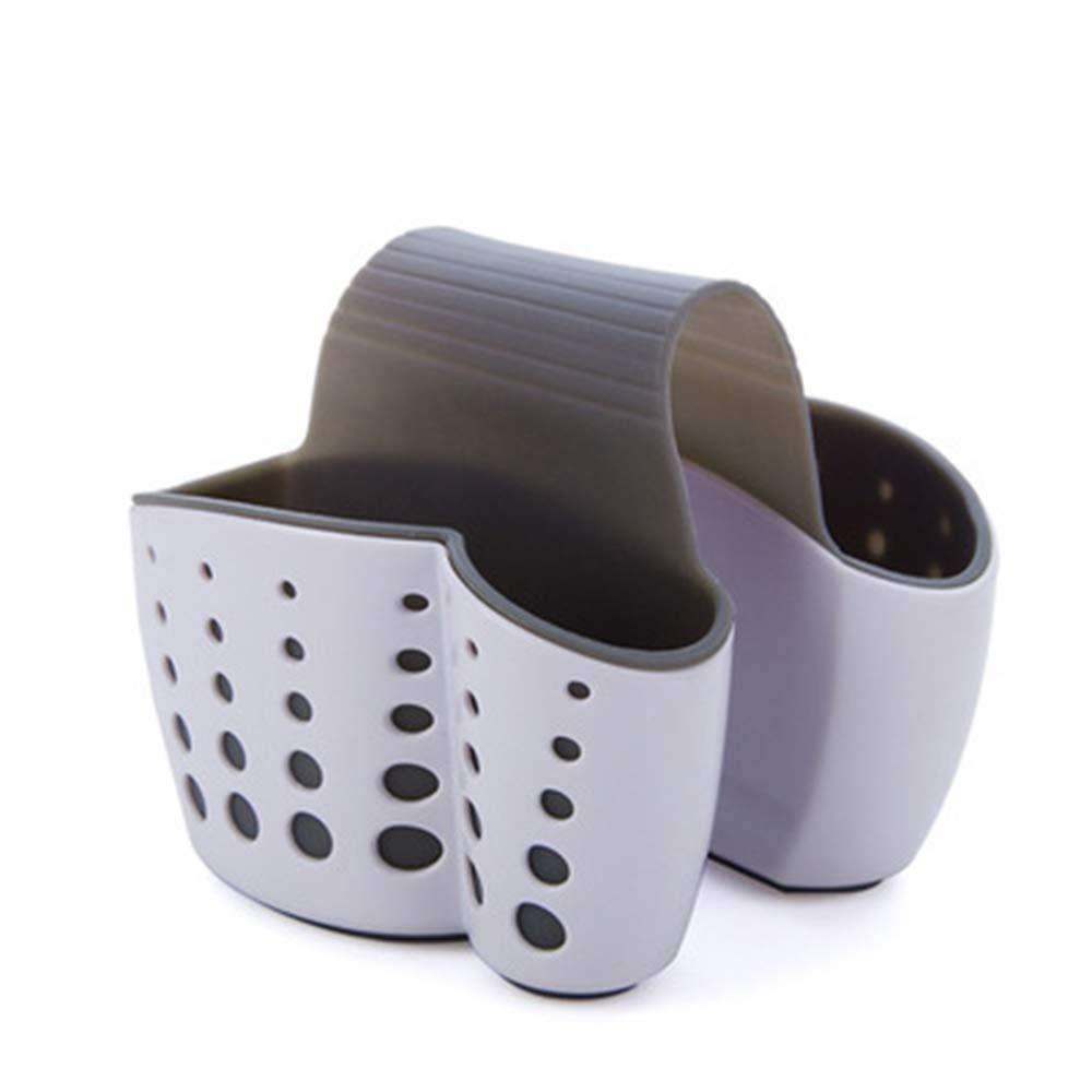 Aofocy Lavello Caddy Sponge Holder Portasapone Draining Kitchen Saddle Sink Caddy Spugna Holder New Spugna Holder Sink Caddy Portasapone per Cucina Contenitori di plastica per Alimenti, Bianco