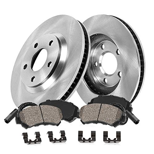 [ E60 E63 ] FRONT 348 mm Premium OE 5 Lug [2] Brake Disc Rotors + [4] Ceramic Brake Pads + Sensors + -