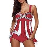 2PCS Women Stripe Print Swimwear Tankini Plus Size Swimdress Beachwear Swimsuit