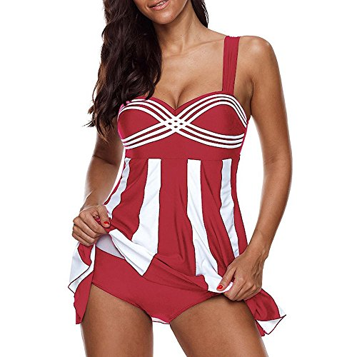 SUNyongsh Women's Stripe Swimsuits Print Swimwear Plus Size Swimdress V Neck Beachwear Sling Swimmer Bathing-Suits Red ()