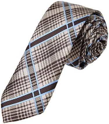 DAE7C.02 Dress Goods Checkered Microfiber Skinny Tie for Mens By Dan Smith