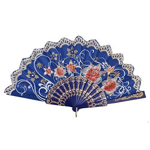 DealMux Dancer Plastic Frame Floral Pattern Dancing Folding Handheld Fan Multicolor