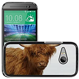 Etui Housse Coque de Protection Cover Rigide pour // M00111810 Vaca peluda Peludo Marrón Cuernos // HTC One Mini 2 / M8 MINI / (Not Fits M8)