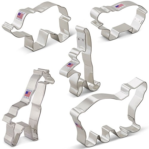 Cutter Animal Cookie (Zoo Animals Cookie Cutter Set - 5 piece -Extra Large- Elephant, Giraffe, Hippo, Polar Bear, Monkey - Ann Clark - US Tin Plated Steel)