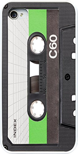 Rikki Knight Realistic Vintage Old Cassette Tape Design Case Cover (White Rubber with Bumper Protection) for Apple iPhone 4 & - Cassette Iphone Tape 4s Case