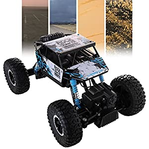 Glantop 27MHz 4wd Rally Car 4 Wheel Drive Rock Crawler 1:16 scale RC Car Off Road Vehicle High Speed Dune Buggy Monster Truck with Remote control and Rechargeable Battery (Blue)