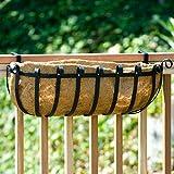 24 inch XL Scroll Railing Planter w/ XL Coco Liner and bracket pair for 2x6 wood railing