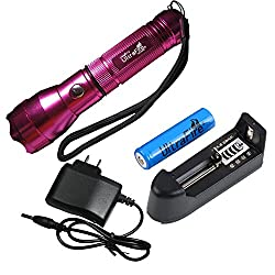 2014 ARRIVAL Flashlight-UltraFire CREE Q5 300LM 535 Rechangable 3-Mode Portable Mini LED Flashlight Torch-Hotpink With Battery And Charger for hunting, cycling, climbing, camping and outdoor activity etc by Spring Digi Center