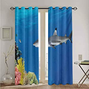 nooweihome Shark Grommet Curtain Backdrop Tropical Underwater World with Fishes Swimming and Coral Reef Serene Wildlife Picture Suitable forEffectivelyCutOffLight W108 x L84 Multicolor