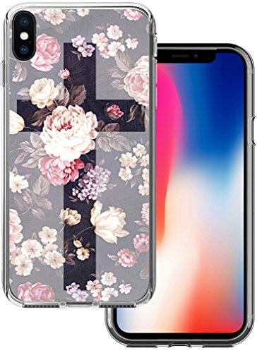 Black Silicone Protector - Iphone X Case Cross Design - CCLOT Flexible Cover Protector Compatible Replacement For Iphone X & 10 2017 Floral Black Cute for Girls (TPU Protective Silicone Bumper Skin)