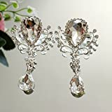 3''X2'' Finished Glass Drill Brooch with Pins Wedding Dress Headdress Decorations DIY Diamond Pendants Accessories 2 Pieces