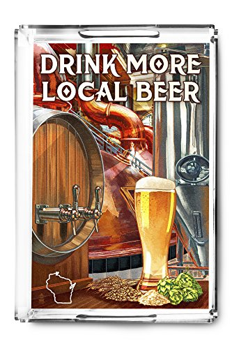 Drink More Local Beer - Wisconsin (Acrylic Serving Tray)