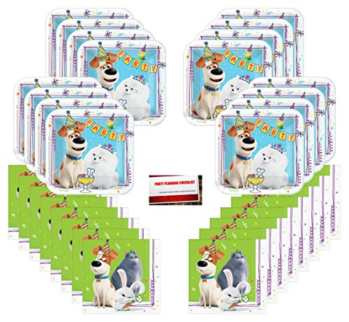 Secret Life of Pets Part 2 Birthday Party Supplies Bundle Pack for 16 Guests (Plus Party Planning Checklist by Mikes Super Store)