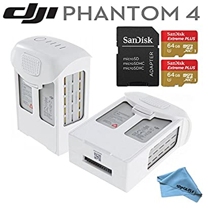 DJI Phantom 4 Power Bundle: Includes 2 Spare DJI Intelligent Flight Batteries for Phantom 4, 2x SanDisk 64GB MicroSD Memory Cards & eDigitalUSA Microfiber Cleaning Cloth