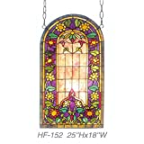 HF-152 Rural Vintage Tiffany Style Stained Church Art Glass Decorative Luxury Sunflower Sector Design Window Hanging Glass Panel Suncatcher, 25''H18''W