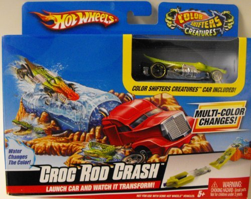 Hot Wheels Color Shifters Croc Rod Crash Playset (Color Changing Cars Hotwheels compare prices)