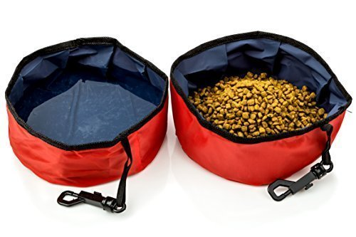 Travel Pet Bowl 2 Pack for Food & Water - Folding Collapsible - for Dogs & Cats