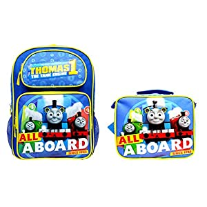 """Granny's Best Deals (C) Thomas the Train All Aboard Railway 16"""" Toddlers Kids Backpack and Thomas the Train All Aboard Matching Lunchbox-Brand New!"""