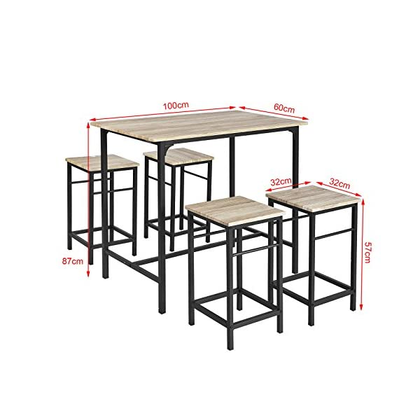 SoBuy OGT11-N Set de 1 Table + 4 Tabourets Ensemble Table de Bar Bistrot + 4 Tabourets avec Repose-pieds Table Haute Cuisine