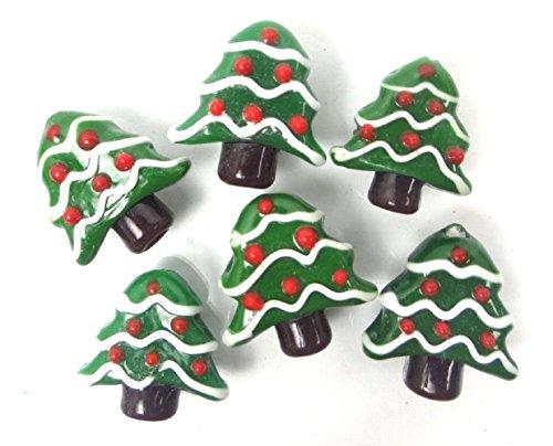6 beads 20mm Lampwork Handmade Glass Christmas Tree Beads
