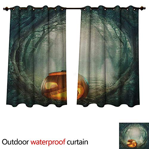Anshesix Halloween Outdoor Curtains for Patio Sheer Drawing of Scary Halloween Pumpkin Enchanted Forest Mystic Twilight Party Art W72 x L72(183cm x 183cm)