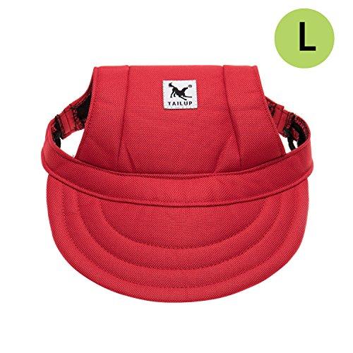 Tsocent Dog Hat, Adjustable Pet Dog Baseball Cap, Visor Design Dog Sport Hat with Ear Holes, Sun Protection Dog Cap, Size L, Red Color