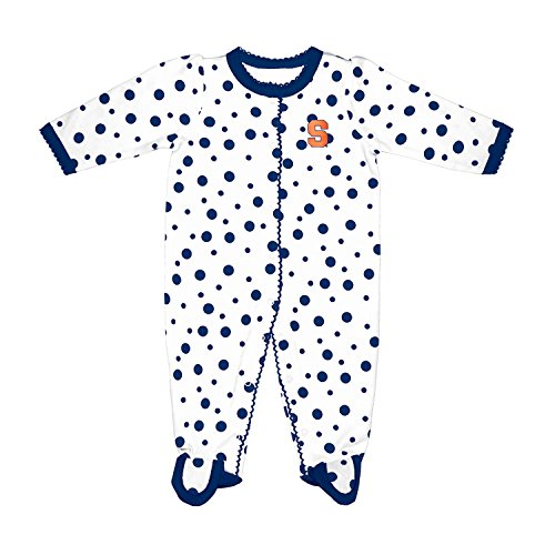 - Two Feet Ahead NCAA Syracuse Orange Infant Polka Dot Footed Creeper Dress, 6 Months, Navy