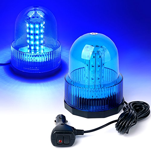 Xprite Super Bright Blue Rotating Revolving LED Beacon Strobe Light,with Magnetic Mount, 60LEDs 12W Emergency Warning Caution Flashing Light for Snow Plow Tru Light for Snow Plow Truck UTV 12v Vehicle (Blue Led Beacon Light)