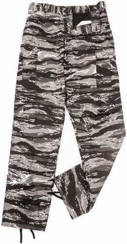 Camouflage Military BDU Pants, Army Cargo Fatigues (Urban Tiger Stripe Camouflage, Size Medium)