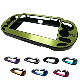 GREEN PlayStation PS VITA (PCH-100x Not for Slim) Aluminum Brushed Metal Plated Plastic Crystal Case Cover + Free Screen Protector