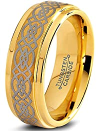 Tungsten Wedding Band Ring 8mm for Men Women Comfort Fit Celtic Knot 18K Yellow Gold Plated Step Beveled Edge Brushed Polished