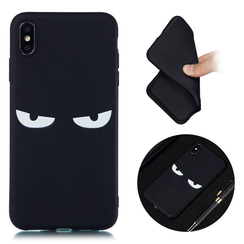 Coque pour iPhone XS Max, TPU Silicone Souple Noir Cover Ultra Mince Cas Solide Durable Anti-Chute Etui Housse Mobile Téléphone Case-Eye