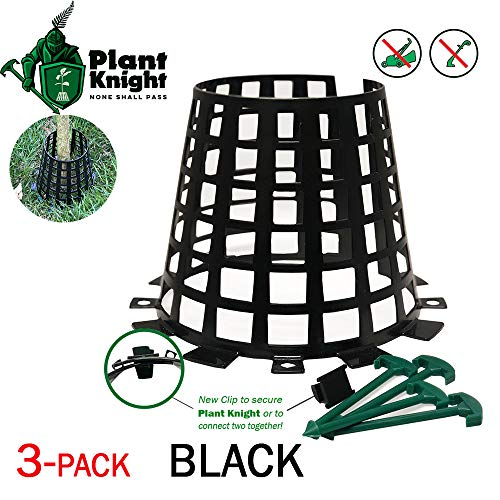 Plant and Tree Guard and Protector for Trees, Plants, saplings, Landscape Lights, lamp Posts, More; Expandable for Larger Trees and Plants; Protection from Trimmers, Weed whackers (3-Pack Black)