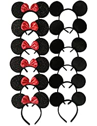 CHuangQi Mouse Ears Headband for Boys and Girls Birthday Party or Celebrations, Solid Black and Red Bow, Pack of 12