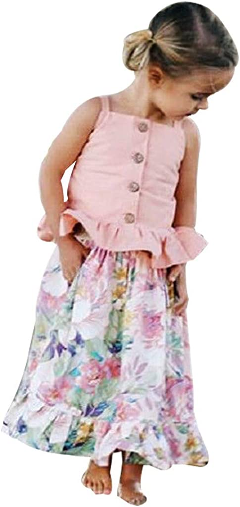 Clothes Set for Girls,Kaicran Casual Cute Long Sleeve Tops and Floral Print Strap Skirt Outfit Size 6M-4Y