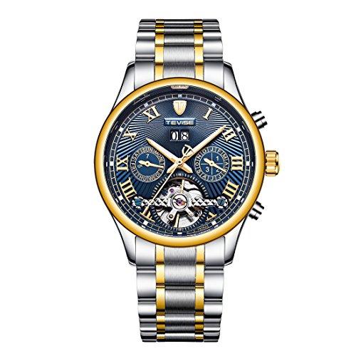 (Men's Swiss Automatic Movement Watch Stainless Steel Date Skeleton Tourbillon Watch)
