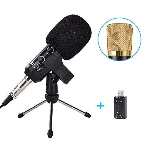 Tonor professionell Kondensator-Mikrofon Schall Podcast Studio Microphone mit 3.5mm Plug+Halter+Windschutz Schaumhülle für Rundfunk Gesang, Netzwerk Singen und Aufzeichnung Schwarz
