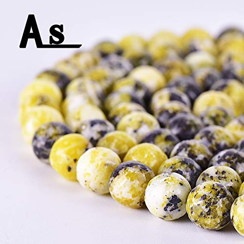 - Asingeloo Natural 8mm Yellow Turquoise Stone Beads for Jewelry Making Smooth Round Gemstones Crystal Energy Stone Healing Power 15