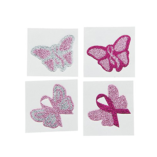 1 Dozen Pink Ribbon Butterfly Glitter Tattoos/Breast Cancer Awareness/Fundraiser