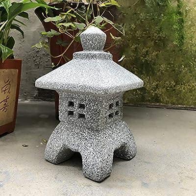 Adorno de jardín para patio de pie, con escultura de pagoda de cerámica, decoración para el